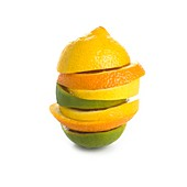 Citrus fruit slices in a stack