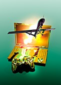 Drone and games console,illustration