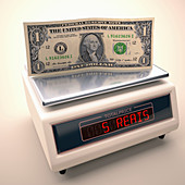 Banknote on scales,illustration