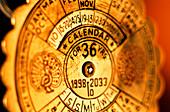 Close-up of a 36-year calendar