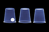Cups and ball trick,X-ray
