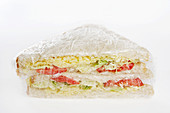 Sandwich wrapped in clingfilm