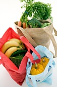 Food shopping in reusable bags