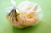 Bananas in a plastic food bag