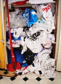 Plastic bags in cupboard