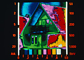 Thermograph of heat loss through house roof