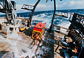 TOBI on stern of R/V Maurice Ewing in rough sea