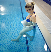 Pregnant woman in a swimming pool