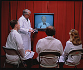 Student doctors being taught by video-conference