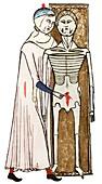 Human dissection,14th century artwork