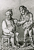 18th century print of a doctor bleeding a patient