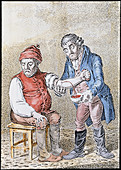 Artwork of a doctor bleeding a patient