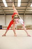 Gymnast balancing