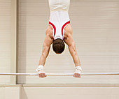 Gymnast performing a handstand