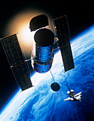 Artwork showing Hubble Space Telescope in orbit