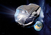 Asteroid deflection,reflective wrapping