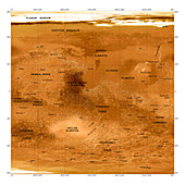 Mars topographical map,satellite image