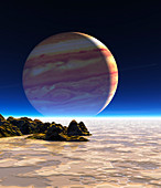 Artwork of Europa's surface with Jupiter in sky