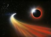 Comet passing a planet,artwork