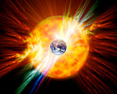 Solar flare threatening Earth