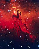 CCD optical image of the Eagle nebula,M16