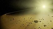 Debris disk in an alien solar system,art