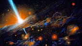 Artist's impression of active galaxy M87