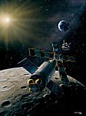 Artwork of lunar lander docking with space station