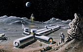 Artist's impression of a manned lunar base