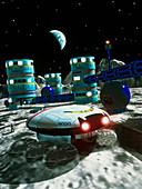 Computer artwork of a future lunar base