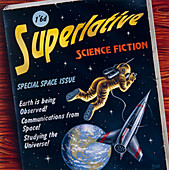 Artwork of a 1950's comic with space predictions