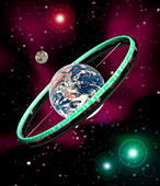 Artwork of a torus-shaped space station or planet
