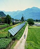 Solar power plant next to a railway line