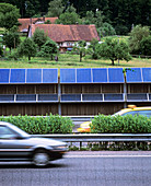 Solar panels by a motorway