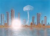 Nuclear strike on a city,artwork