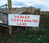 Contaminated land warning sign