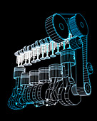Computer-aided design of a car engine