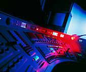 Detail of a mixing desk in a tv editing suite