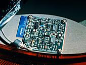 Miniature radar on a circuit board in a car boot