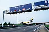 Boeing 747 airplane landing