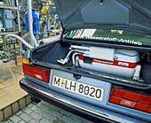 Liquid hydrogen fuel tank in boot of test car