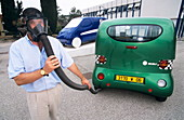 Man demonstrating non-polluting air car