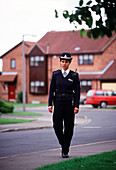 Patrolling policewoman