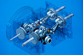 Compressed air car engine,artwork