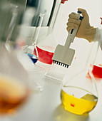 Hand pipettes chemical solution in a laboratory