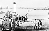 Illustration of steam engine powering a plough