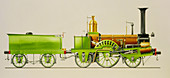 Illustration of a 19th century steam locomotive