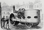 Engraving of a steam-driven road roller