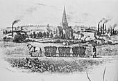 Early horse-drawn wagon train