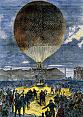 Artwork of a hydrogen balloon taking off at night